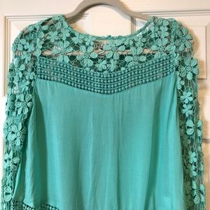 Sabo Skirt Mint Green Crochet Lace Top
